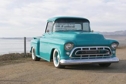 Teal 1957 Chevy Big Window ClassicTrucks net