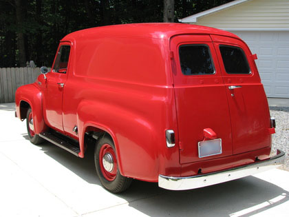 Back of a 1953 Ford F100 Panel Truck