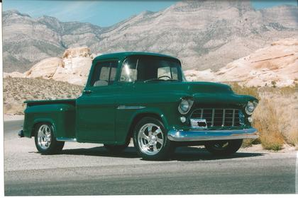 Later 1955 Chevy Truck With Custom Wheels